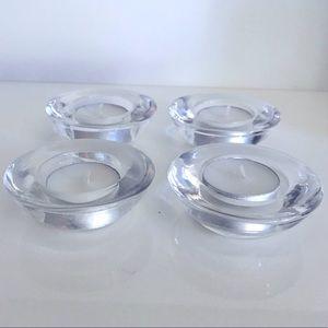 Crate & Barrel Clear Glass Tea Light Holders 4-pk